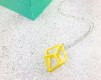 3D printed yellow geometric statement necklace