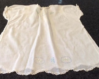 infants white dress with pin tuck, embroidery and lace vintage
