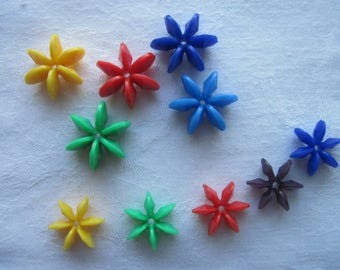 545 piece beads, connectors beads, plastic, acrylic, colour yellow, red, green, blue, 22 mm, 13 mm, star shape, Star beads