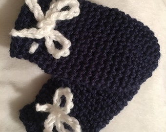 Navy Blue Thumbless Baby Mittens