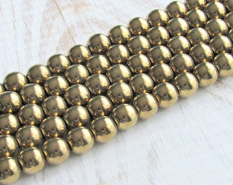 10mm gold Hematite, magnetic hematite, full strand, gold plated, 10mm round beads, jewelry supplies, mala beads, Jewelry supplies, beading