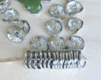 Wavy Heishi spacers, set of 30, 9mm beads, silver heishi beads, spacer beads, silver disc beads, coin beads, silver flat beads,
