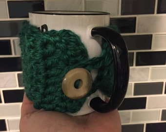 Coffee Mug Cozy | Green Sleeve | St. Patrick's Day | Green Sweater Mug with Button