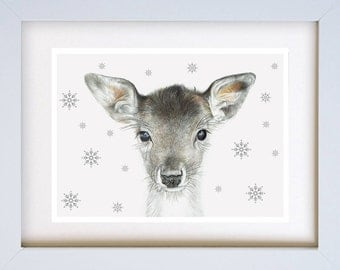 Deer in Snowflakes - 270mm X 220mm Framed, mounted and hand signed limited editition Giclée Print on 200gsm acid free paper