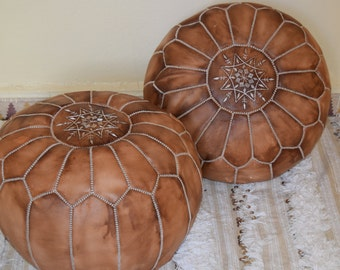 Set of 2 Leather poufs, ottoman luxury natural oiled floor poufs, moroccan home decor