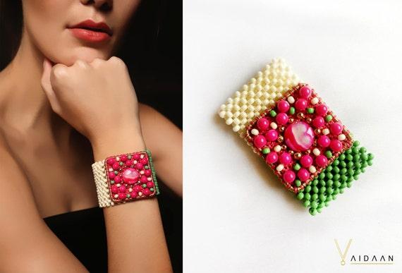 Hot Pink Beadwoven Beach Boho Bracelet