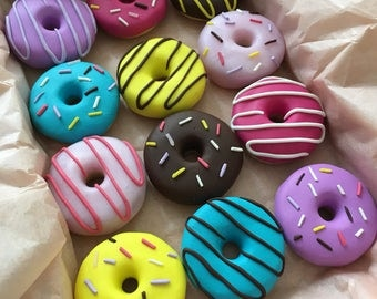 12 handmade polymer clay doughnut pattern weights