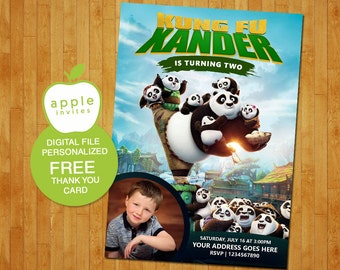 kung fu panda invitation, kung fu panda birthday, kung fu panda party, kung fu panda, FREE Thank you Card