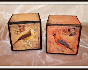 Set of 2 Vintage Bird Postcard Decorative Wood Blocks, Bird Postcard Wood Blocks, Vintage Bird Home Decor, Birds Home Decor, Shabby Chic