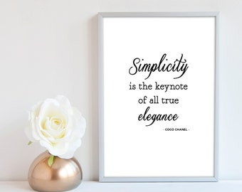 Coco Chanel Print Simplicity is the keynote of all true elegance – Chanel