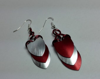 Earrings Red/Silver Scales