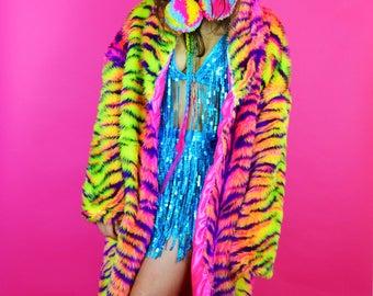 Neon Roar Floor Length Coat