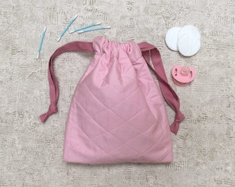 unique smallbag in quilted pink layette - cotton bag
