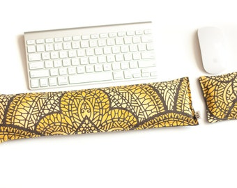 Keyboard Pad Mouse Pad Ergonomic Wrist Rest Natural Flax Hot and Cold Pack Carpal Tunnel