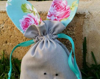 Aqua and Pink flowers easter bunny bag