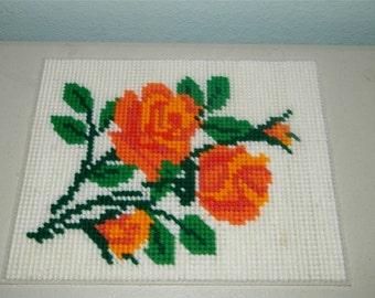 Vintage Orange Rose Needlepoint Roses Complete 9972