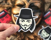 VENDETTA Stickers Pack, Vendetta Stickers, Cool Stickers, Laptop stickers, cool laptop stickers, iPhone stickers, V for Vendetta art