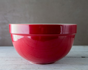 Huge Red and White Ceramic Mixing Bowl-Food Photography Prop