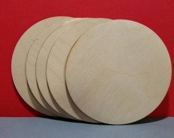 4 inch wood circle 5 pack, wood disk,  wooden disk, blank coasters, wood canvas panel, pyrography supply, crafting supply, ornament, sanded
