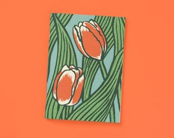 A6 note book blank Orange tulips