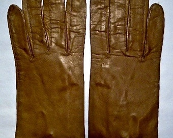Brown Vintage Kid Leather Gloves ~ Size 7 ~ One Button Wrist Closure