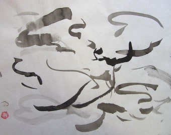 "Black sumi ink on paper, original brush painting, ""Moody Weather"""