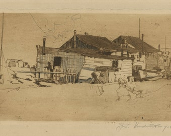 "JAN C. VONDROUS (Czech/American, 1884-1956), ""Cape Cod"", 1904, original etching, pencil signed"