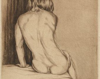 "ISAC FRIEDLANDER (Latvian/American, 1890-1968), ""Gilda"", 1931, original drypoint, pencil signed."