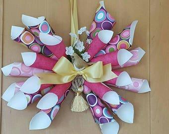 Mother's Day custom, handmade paper wreaths! Lightweight, ideal for seniors! Pink, green, yellow! Birds, butterflies, ribbons!