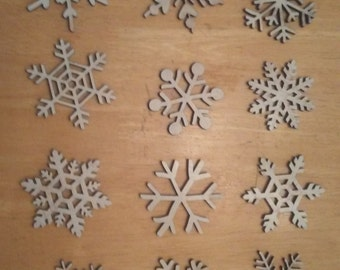 Set of 5 Snowflakes laser cut birch plywood