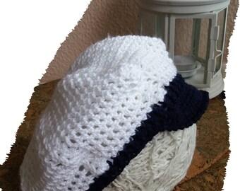 Crochet Baby  hat Newborn baby hat Crocheted baby hat  White baby hat Baby  boy cup Newsboy hat