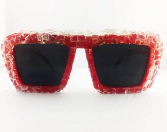 crystal bling beauty red gloss glass frame sunglasses