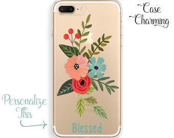 iPhone 6 Case Floral iPhone 7 Plus Case Personalized iPhone 7 Case Flowers iPhone 6s Case Watercolor iPhone 6 Plus Case iPhone SE Case Clear
