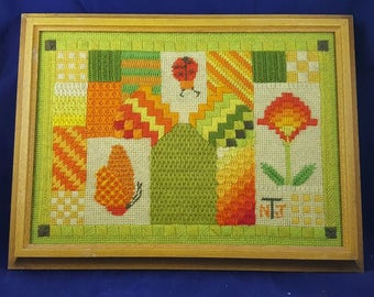 Vintage Needlepoint 70s Artwork Bugs Flowers Butterfly Green Orange Yellow