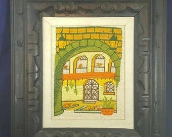 Vintage Needlepoint 70s Artwork Courtyard Spanish Green Orange Yellow Arch Brick