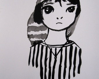 Theresa Warrior portrait hand-made with India ink, illustration, graphic design, decoration