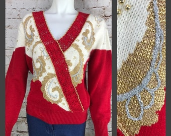 Large - 80's Dana Scott Sparkly Red and Gold Beaded Women's Sweater - Size Large