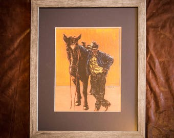 Cowboy Art Print - Western Art - Rustic Art