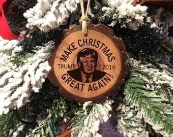 Donald Trump Christmas Ornament Make Christmas Great Again Funny Cute Trump 2016 Wood Slice Engraved Holiday Christmas Tree Decoration