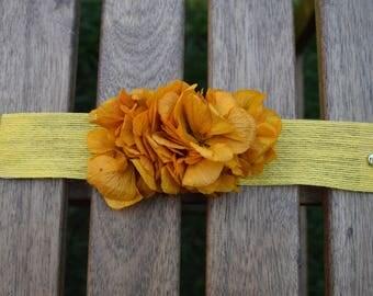 Preserved flower mustard | Floral bracelet mustard