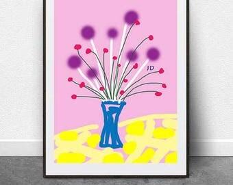 Purple Pom Pom, DIGITAL Download, Digital Art File, Printable Art, Flowers, Pop Art, Modern Art, Color ,Digital Drawing,Digital Illustration