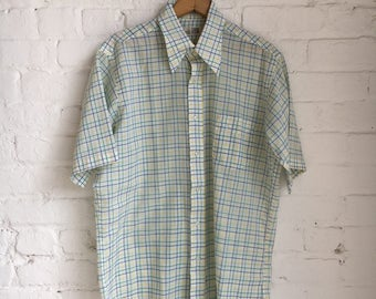 "Vintage 70's Men's The Stable Polyester/Cotton Blend ""The Bristol"" Plaid Short Sleeve Shirt Size Large Made in USA Retro 70s 1970s"