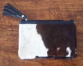 Cowhide Handbag Mini Real Cow Hide Clutch Wallet 21 by 13 cms
