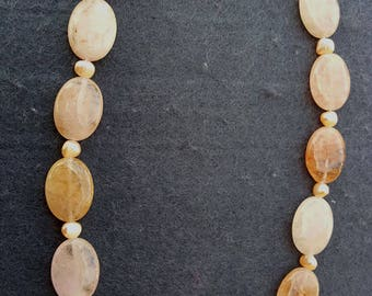 Natural Morganite Beads And Freshwater Pearl Necklace With 925 Sterlilng Silver Clasp (BEADJ1006)
