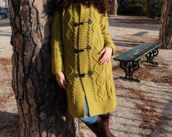 Coat/cardigan knitting handmade, mustard color, size M