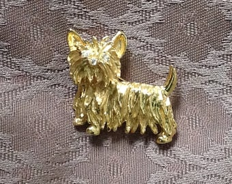 1980s gilt/gold colour Scottie Dog Brooch/Pin