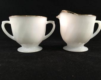 Vintage Milk Glass Sugar and Creamer Set with Gold Trim