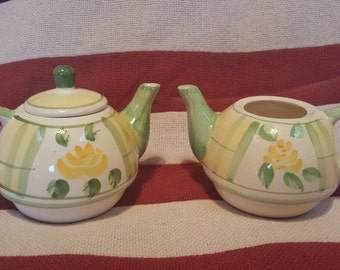 Vintage Two Royal Norfolk Mini Teapots Pattern: Yellow Rose and & Green