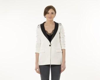 White blazer with Shoulder Embellishment