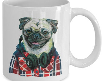 Funny Pug Wearing Headphones Mug - Red